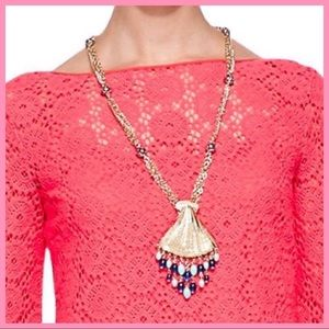 "LILLY PULITZER | ""Bomb Shell"" Gold Tone Necklace"